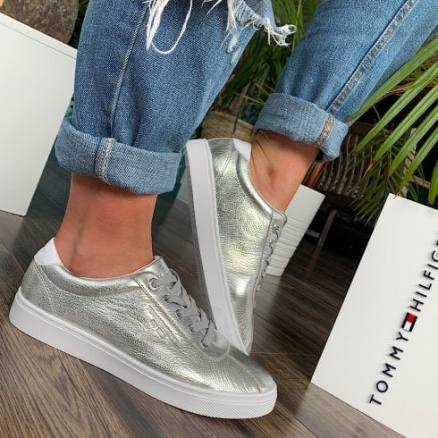 Tommy Hilfiger Ladies Silver Cupsole Trainers