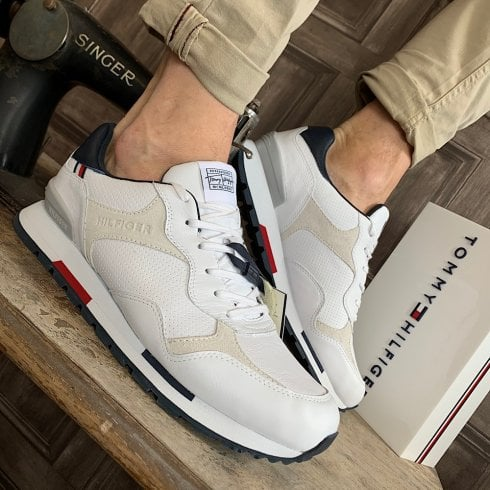 Tommy Hilfiger Mens White Retro Runner Leather Mix Trainers