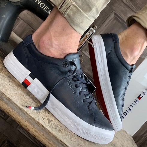 Tommy Hilfiger Mens Navy Premium Corporate Leather Trainers