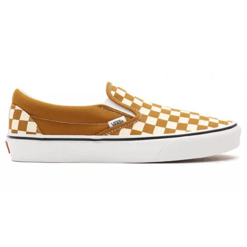 Vans Classic Slip On Golden brown Checkerboard Sneakers
