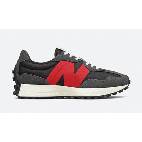 New Balance Mens 327 Lifestyle Grey and Red Trainers