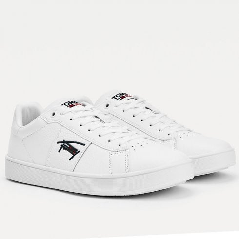 Tommy Hilfiger Mens White Leather Cupsole Signature Trainers