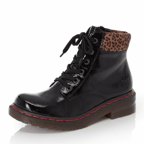 Rieker Ladies Black Leopard Print Trim Boots