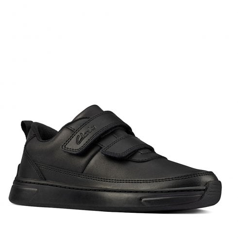 Clarks Kids Vibrant Glow Black Velcro Strap Shoes F and G Fit