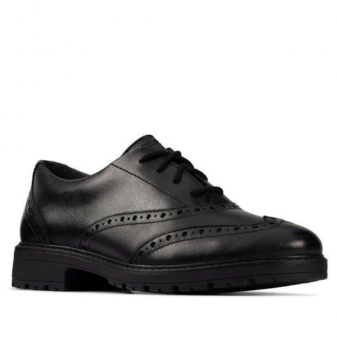 Clarks Loxham Brogue Black Leather 'F' Fit School Shoes