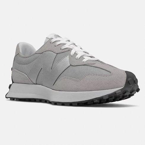 New Balance Mens 327 Rain Cloud Grey with Metallic Silver Trainers