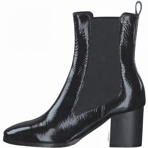 Tamaris Ladies Black Patent Block Heel Boot