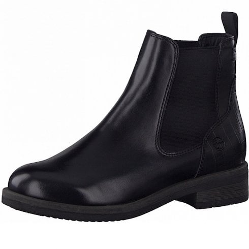Tamaris Ladies Black Chelsea Boots With Croc Details