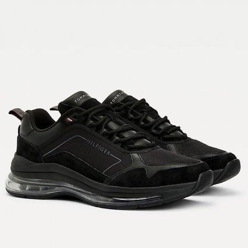 Tommy Hilfiger Mens Black Air Bubble Premium Leather Trainers
