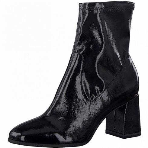 Tamaris Ladies Black Stretch Block Heel Ankle Boots