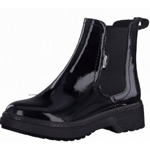 Tamaris Ladies Black Patent Chelsea Boots