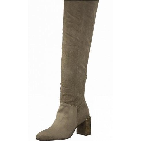 Tamaris Ladies Antelope Grey Stretch Long Boots