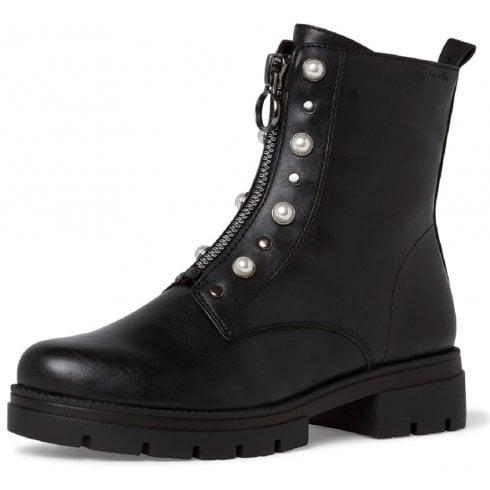 Tamaris Ladies Black Pearl Detail Ankle Boots