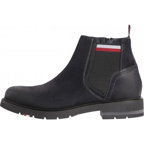 Tommy Hilfiger Mens Navy Corporate Suede Chelsea Boots
