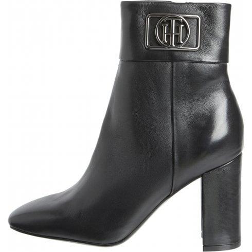 Tommy Hilfiger Ladies Black Leather Block Heel Ankle Boots