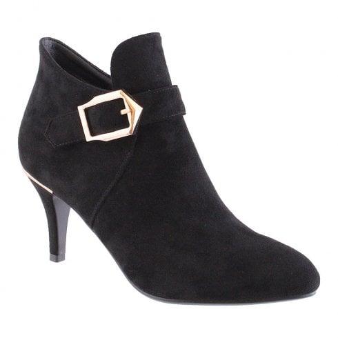 Susst Lizzie Black Faux Suede High Heel Boot
