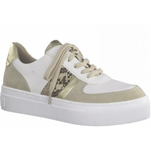 Marco Tozzi Ladies White and Beige Snake Trainers