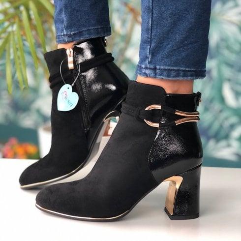 Susst Lopez Black Suede Patent Block Heel Boot