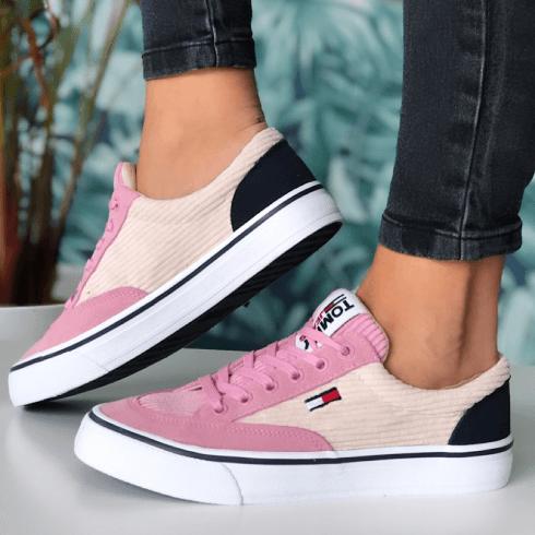 Tommy Hilfiger Ladies Matte Pink Corduroy Skate Sneakers