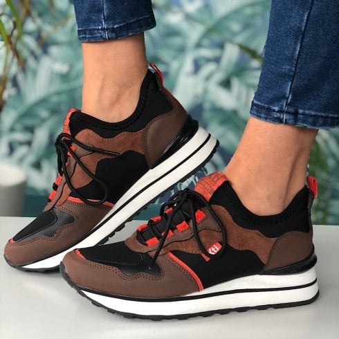 XTI Ladies Black/Brown/Orange Lace Up Trainer