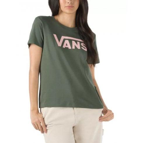 Vans Ladies Flying V Crew Khaki Pink T-Shirt