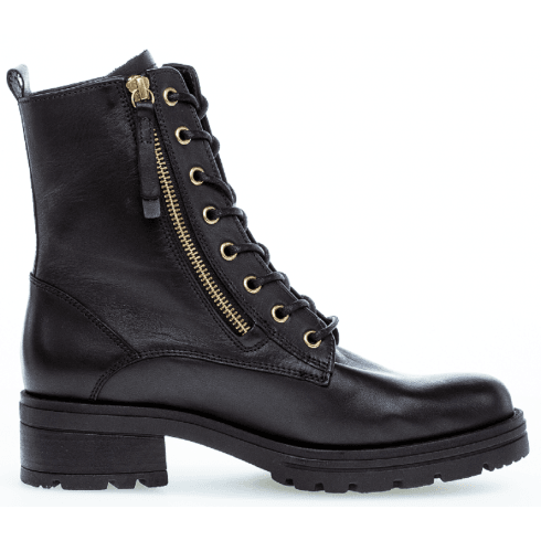 Gabor Ladies Black Soft Leather Biker Boots