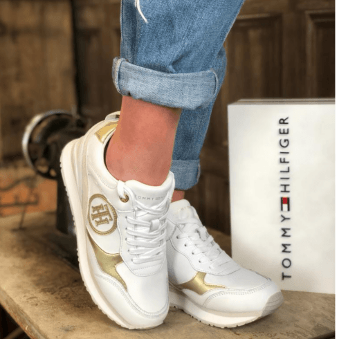 Tommy Hilfiger Ladies White Metallic Wedge Heel Trainers