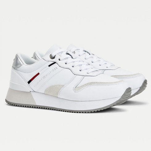 Tommy Hilfiger Ladies White Leather Signature Cleat Trainers
