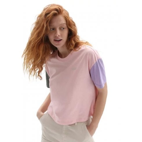 Vans Ladies Pink Boxy Colourblock Crop T-Shirt