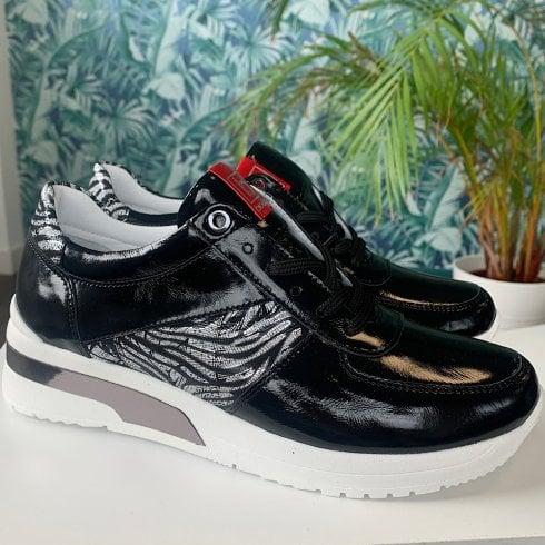 Bioeco Ladies Black Patent Zebra Print Trainers