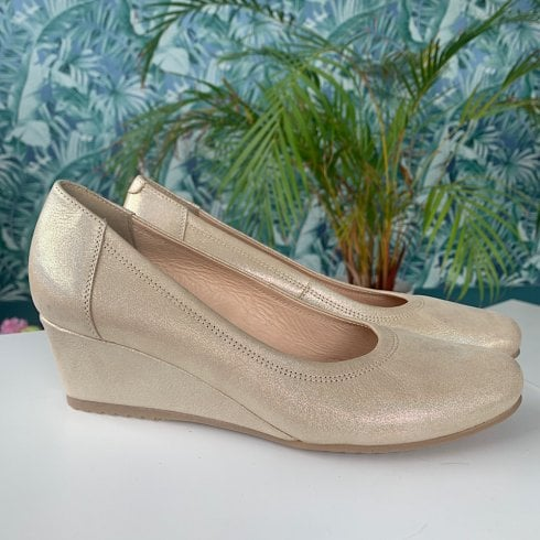 Bioeco Ladies Gold Metallic Leather Wedge Shoes