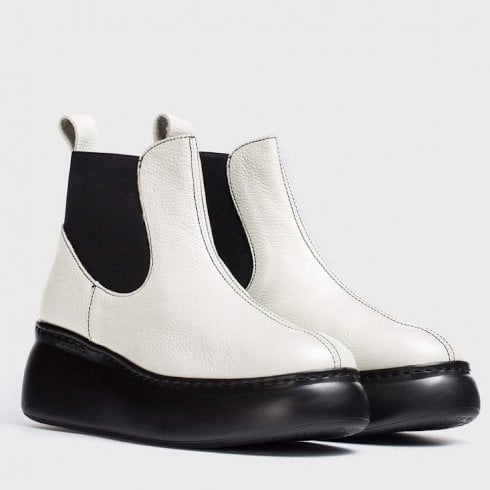 Wonders Ladies Cher White Leather Ankle Boots