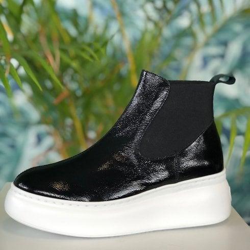 Wonders Ladies Black Patent Ankle Boots