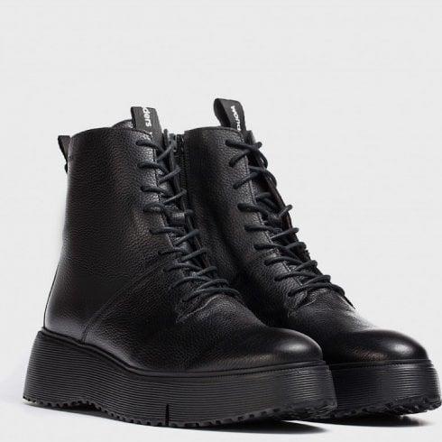 Wonders Ladies Bristol Black Biker Boots
