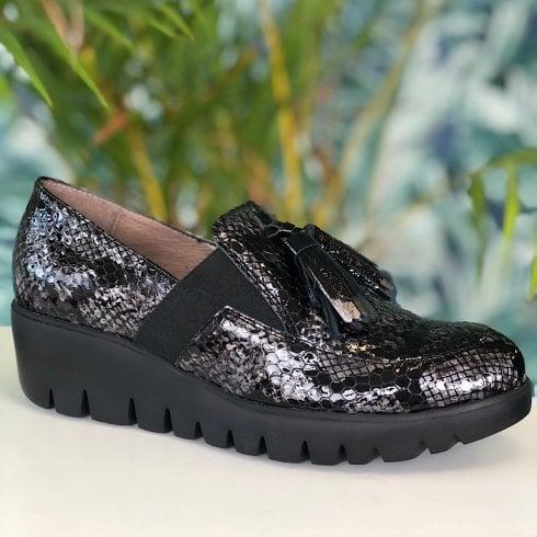 Wonders Ladies Lead Snake Candy Slip On Wedge Loafers