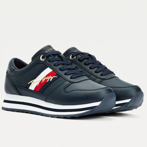 Tommy Hilfiger Ladies Navy Signature Leather Trainers