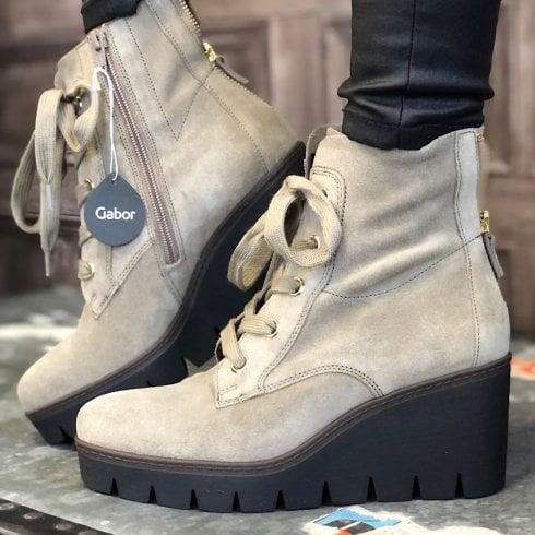 Gabor Ladies Grey Suede Wedge Heel Boots
