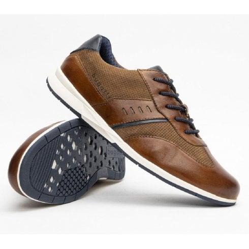 Bugatti Mens Mars Cognac Brown Perforated Shoe