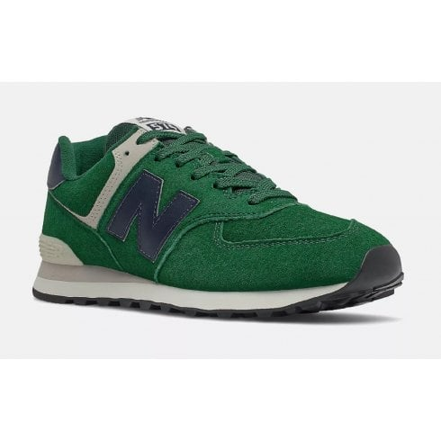 New Balance Mens 574 Green Suede Trainers