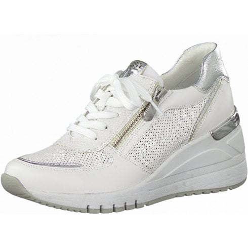 Marco Tozzi Ladies Whie Silver Wedge Trainers