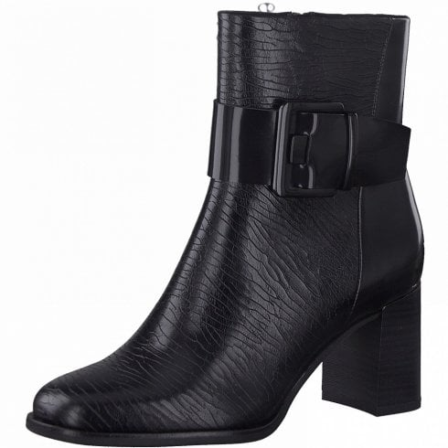 Marco Tozzi Ladies Black Croc Print Heeled Boots