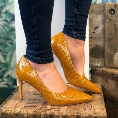 Una Healy Moon River Honey Mustard High Heel Court Shoes