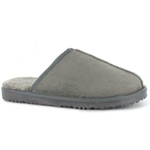 Ella Shoes Mens Luxury Jack Grey Mule Slippers