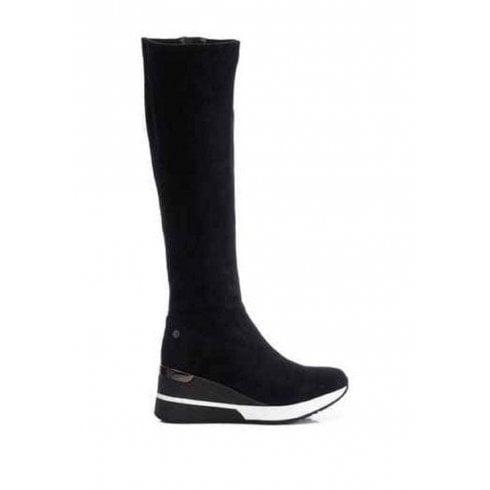 XTI Ladies Black Suede Wedge Boot