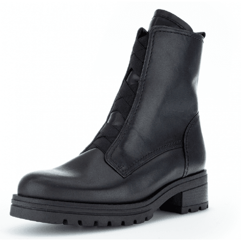 Gabor Ladies Black Leather Sporty Ankle Boots