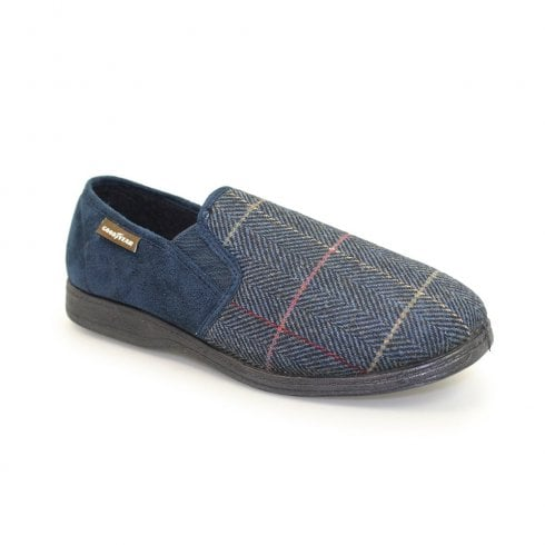 Goodyear Harrison Tweed Slippers - Navy