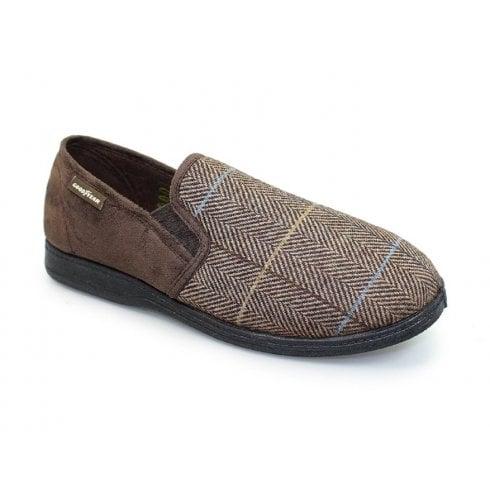 Goodyear Harrison Tweed Slippers - Brown