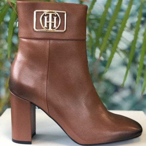 Tommy Hilfiger Ladies Brown Leather Block Heel Ankle Boots