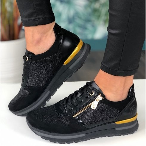 Rieker N7809 Black with Shimmer Trainers