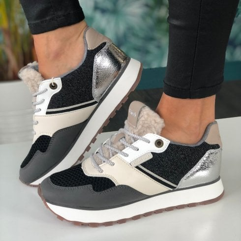 Refresh Ladies Grey and Silver Metallic Trainers